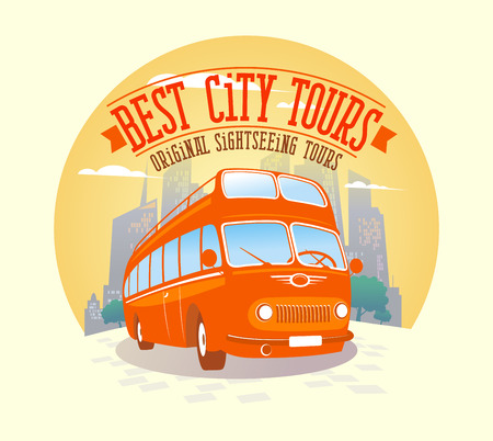 Best city tours design with double-decker bus against city background.