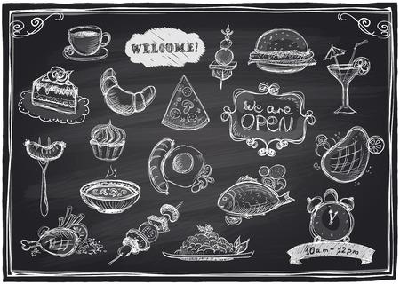 Hand gezeichnet verschiedene Speisen und Getränke grafische Symbole auf einer Tafel Hintergrund.