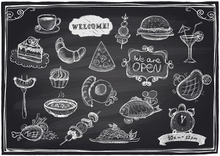 Hand drawn assorted food and drinks graphic symbols set  on a chalkboard background.