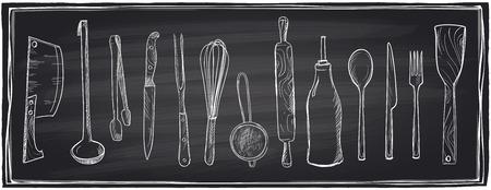 aceite de cocina: Dibujado a mano conjunto de utensilios de cocina sobre un fondo de pizarra.
