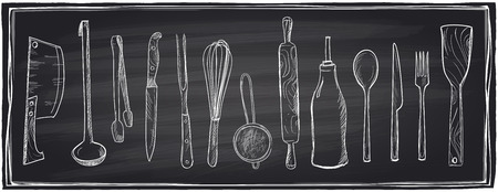 implements: Hand drawn set of kitchen utensils on a chalkboard background.