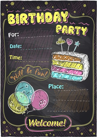 for children: Birthday party chalkboard design with place for text.