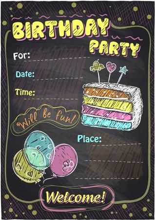 Geburtstagsparty Tafel-Design mit Platz für Text. Illustration