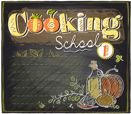 kitchen scraps: Cooking school chalkboard design with place for text.