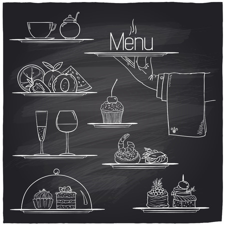 Chalk banquet food symbols on a chalkboard.  Vector