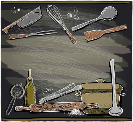 implements: Hand drawn design with kitchen utensils on a chalkboard, place for text.