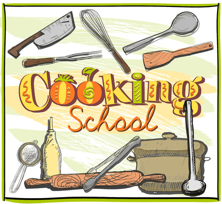 cookery: Cooking school graphic design with utensils.