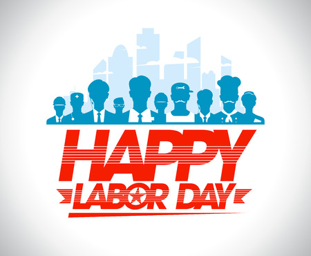 Happy labor day design with group of silhouettes of different workers.
