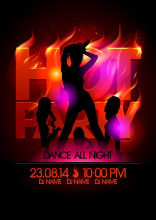Fiery hot party design with fashion girls silhouettes.