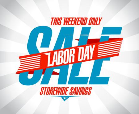jornada de trabajo: Día del trabajo venta ahorros diseño retro del estilo. Vectores