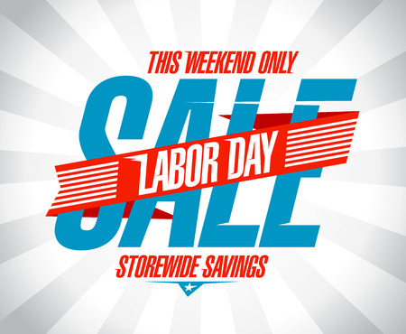 clearance sale: Labor day savings sale retro style design.