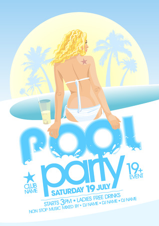 nightclub bar: Pool party design template. Eps10 Illustration