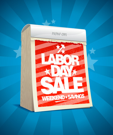 off day: Labor day sale design in form of tear-off calendar.