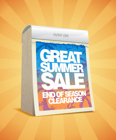 end of summer: Great summer sale tear-off calendar design. Eps10