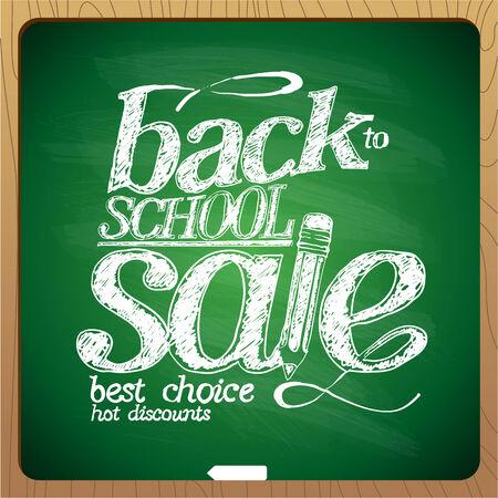 Back to school sale chalk design, hot discounts. Vector