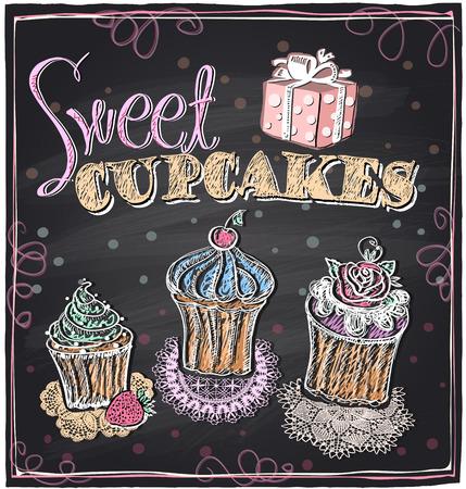 Sweet cupcakes chalkboard design. Eps10 Vector