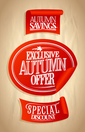 Autumn offer, sale stickers set on a paper. Eps10 Vector