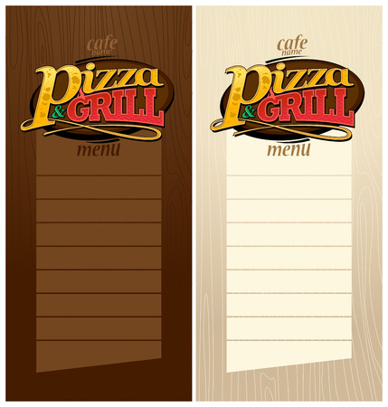Pizza and grill menus set. Vector