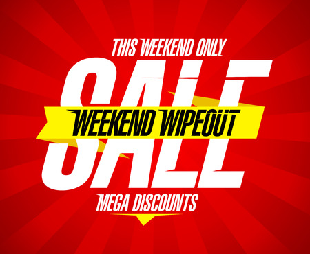 discount banner: Weekend wipeout sale design, mega discounts.
