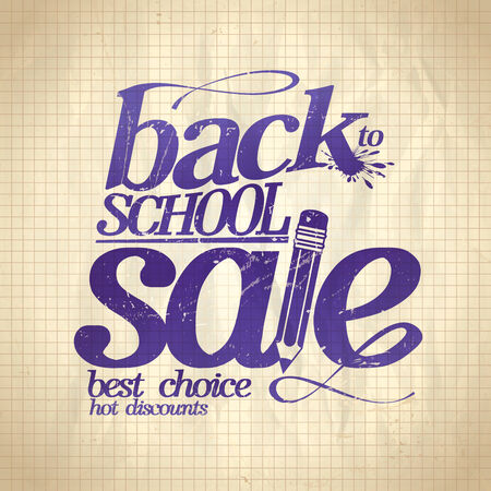 Back to school sale design on a paper background. Eps10 Vector