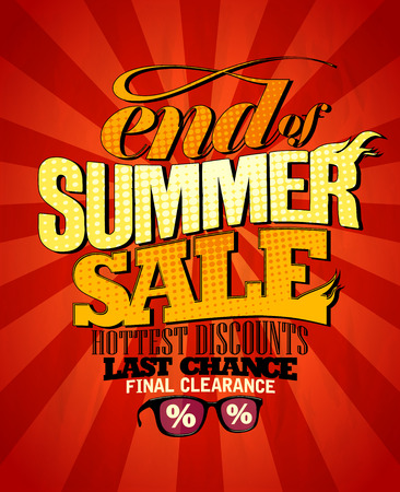 hottest: End of summer sale design, hottest discounts. Eps10