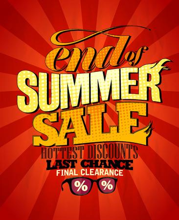 end line: Fin de dise�o venta de verano, los descuentos m�s calientes. Eps10