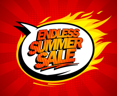 end of summer: Endless summer sale pop-art design with fiery speech bubble.