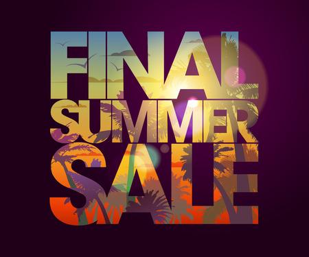 Diseño de la venta final del verano con telón de fondo tropical.