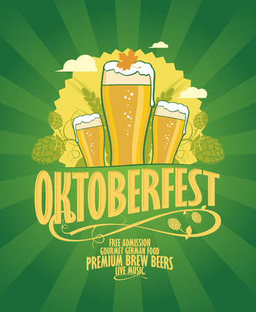 Oktoberfest design with beer and hope on a retro style green rays background. Vector