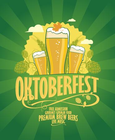 Oktoberfest ontwerp met bier en hoop op een retro stijl groene stralen achtergrond.