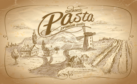 Autentic pasta label with rural landscape backdrop. Eps10