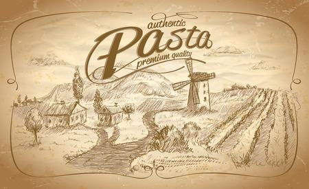 Etichetta di pasta autentica con sfondo paesaggio rurale. eps10 Vettoriali