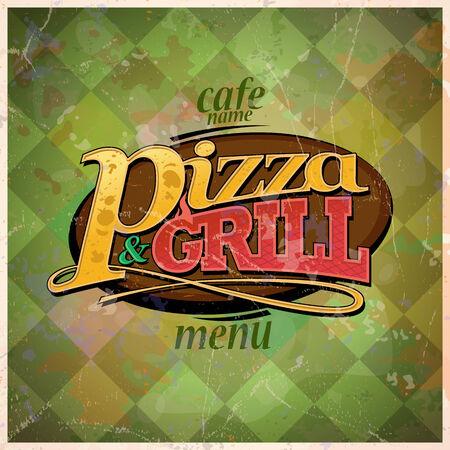 그릴: 피자와 그릴 메뉴 카드 디자인, 복고 스타일입니다. EPS10 일러스트