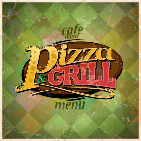 Pizza and grill menu card design, retro style. Eps10 Vector
