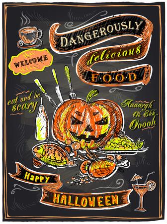 voedingsmiddelen: Gevaarlijk heerlijk eten, halloween schoolbord menu. Stock Illustratie