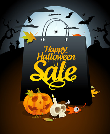 the attributes: Halloween sale design with paper bag and festive attributes in a nightscape.