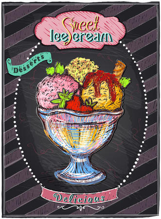 Sweet ice cream chalkboard menu.  Vector