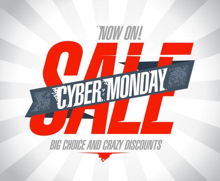monday: Cyber monday sale design. Illustration