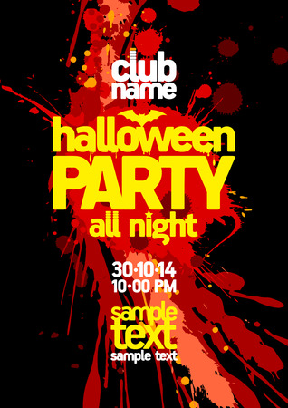 Halloween party design with bloody blots and place for text. Vector