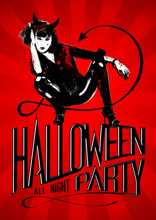 Halloween party design with devil woman. Vector