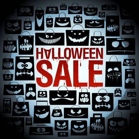Halloween sale design with scary paper bags backdrop. Vector