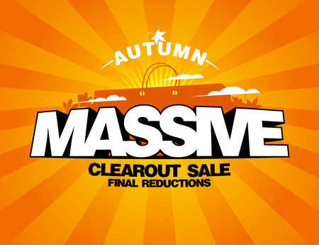 massive: Massive autumn sale design with shopping bag on a rays backdrop.