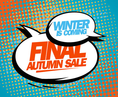 Final autumn sale design in pop-art style. Vector