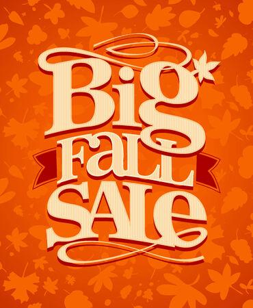 Big fall sale vintage design. Vector