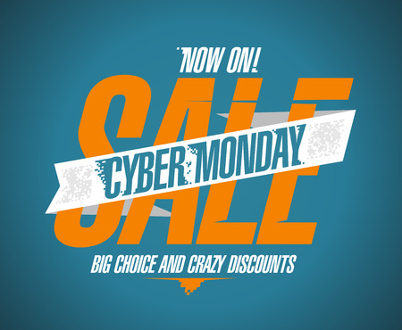 Cyber monday sale now on banner. Vector