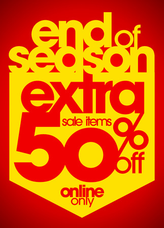 write off: End of season extra 50% off sale items typography illustration.