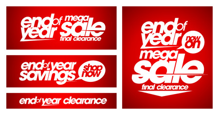 clearance: End of year mega sale banners set. Illustration