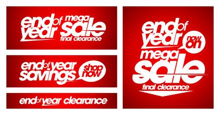 estaciones del a�o: Fin de a�o de mega banners de venta establecido. Vectores
