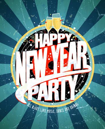 Neues Jahr-Party-Vintage-Design. Eps10 Standard-Bild - 33976229