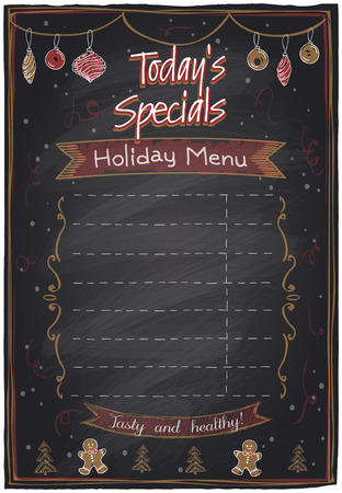 specials: Holiday menu chalkboard with place for text. Today`s specials.